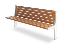 Amicus- metal bench with backs and wooden seating section