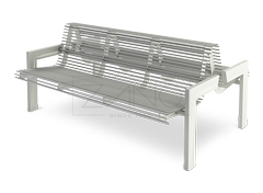 double - sided bench made of stainless steel tubes