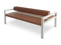 Latis is a double sided modern bench made of stainless steel and durable wood