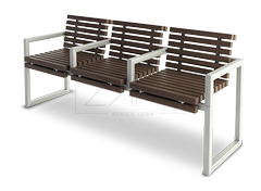 Wooden bench with metal construction and comfortable arms