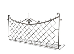 stylish cast iron fence in retro style