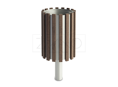 03.057 litter bin represents a timeless design based on wood and stainless steel construction