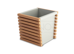 Modular planter made of stainless steel and wood